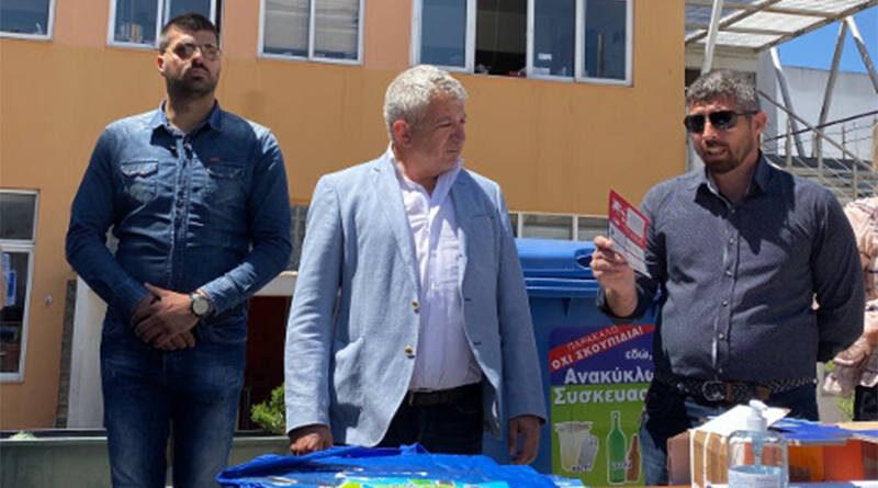 Ο Δήμαρχος Φαιστού Γρηγόρης Νικολιδάκης με τον Αντιδήμαρχο Αντώνη Κωνσταντουλάκη και ο Δημήτρης Παπασωτηρίου