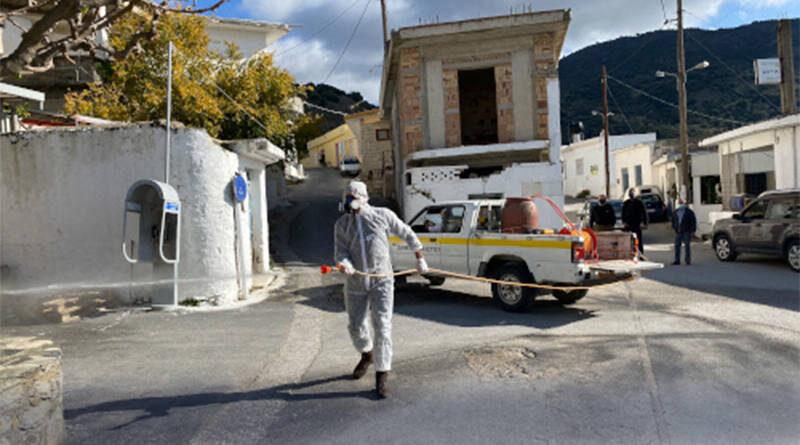 Κορωνοϊός:  Άμεσες Απολυμάνσεις σε Οικισμούς του Δήμου Φαιστού